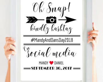 Oh Snap Hashtag Sign, Oh Snap Sign, Social Media Sign, Printable Wedding Decor, Instagram Sign, Instant Download SKU# CWS305_1822C