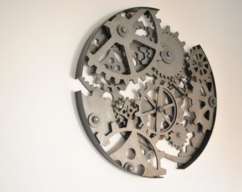 Steel Circle of Cogs and Gears industrial steampunk metal sculpture