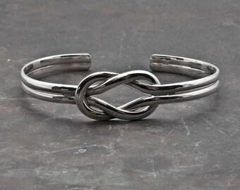 Sterling Silver Knot Cuff Bracelet, Nautical Bracelet, Unisex Love Knot Jewelry, Silver Celtic Knot Mens Bracelet, Friendship Knot Jewelry