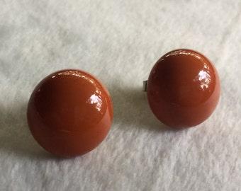 Rust Earring,Rust Stud,Rust Stud Earring,Brown Earring,Brown Stud,Rust Brown Stud,Rust Brown Earring,80s Brown Stud,70s Brown Stud