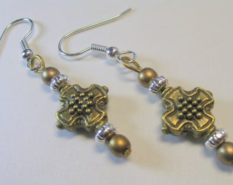 Bronze and Silver Earrings  E1520