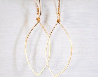14k Gold Filled Hammered Leaf Earrings