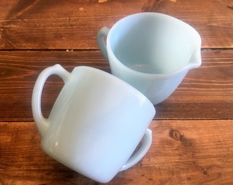 Vintage Fire King Delphite Blue Glass Sugar and Creamer Set/Collectible Delphite Fire King Sugar and Creamer Set/Baby Blue Glass