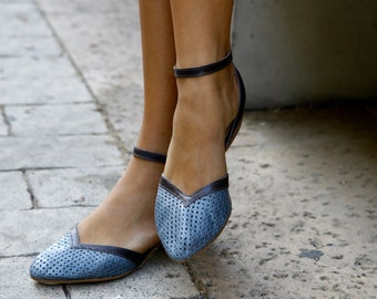 Jeans Blue Flat Leather Shoes / Comfortable Elegant Shoes / Evening Shoes / Jeans Blue Ankle strap Shoes / Sharp Tip Designer Shoes - Edith