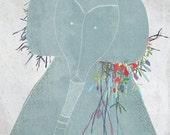 Creature E - Art -Print of an original illustration -  children - Elephant - Flowers