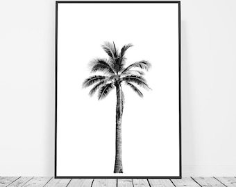 Palm Print, Palm Tree Print, Tropical Print, Beach Decor, Palm Wall Art, Palm Tree Art, Black and White, Palm Tree Wall Print