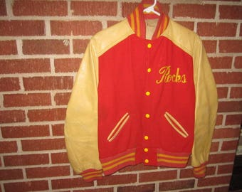 Vintage 1950s/60s Rock Island, Illinois Rocks High School Letter Jacket with Leather Sleeves