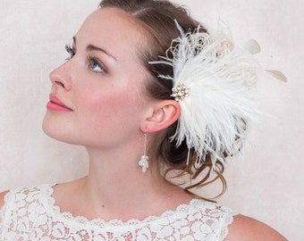Ivory Ostrich Feather Hair Clip Fascinator Crystal Gold Brooch