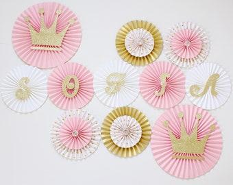 Princess Party Decorations - Princess Baby Shower - Princess Birthday -Princess Party - Paper Rosettes - Paper Fans - Pinwheel Backdrop