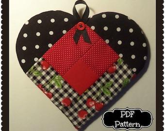 PDF Pattern:  Log Cabin Heart Potholder