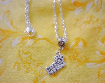 Cat Person Necklace,Cat Charm silver Necklace