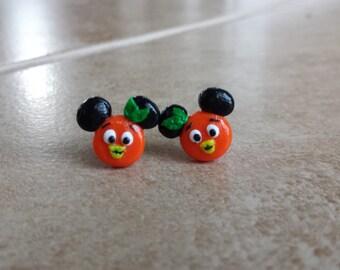 Sunshine Tree Terrace Orange Bird Mickey Mouse Inspired Earrings