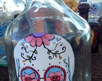 Upcycled Wine Jug with Sugar Skull and Cork