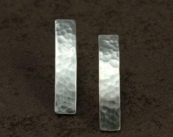 Hammered Silver Bar Earrings, Sterling Silver Earrings, Stick Earrings, Hammered Silver Earrings, Silver Bar Earrings