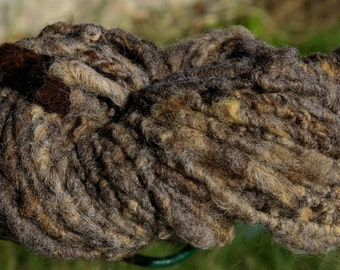Handspun Bulky Weight Uruguayan Merilin Sheep Wool Art Yarn in Natural Grey Brown Colors for Knit Crochet Weave Felt