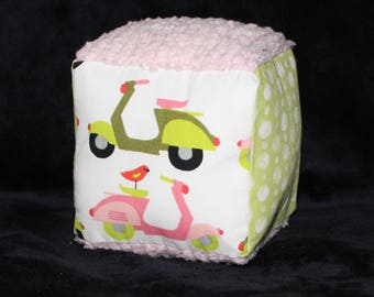 Organic Pink and Green Vespas and Dots Fabric Block Rattle