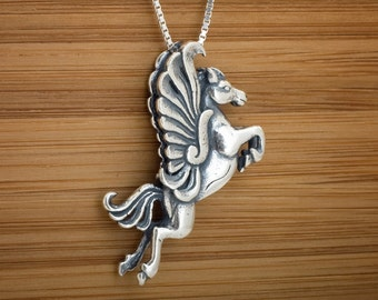 STERLING SILVER Pegasus Winged Horse My ORIGINAL Necklace Pendant -  Chain Optional