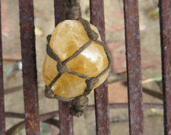 Citrine Organic Hemp Wrapped Macrame Crystal Adjustable Necklace