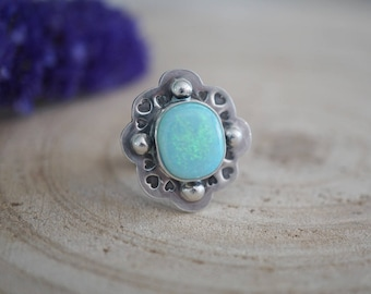 Blue Moon Opal Ring. Sterling Silver Ring. Statement Ring. Bohemian Jewelry. Cultured Opal. One Of A Kind. Handmade Jewelry.