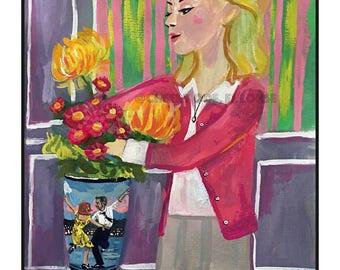 La La Land and Umbrellas of Cherbourg mashup • art print • giclee  • movie • french new wave • whimsical • flower vase art series • portrait