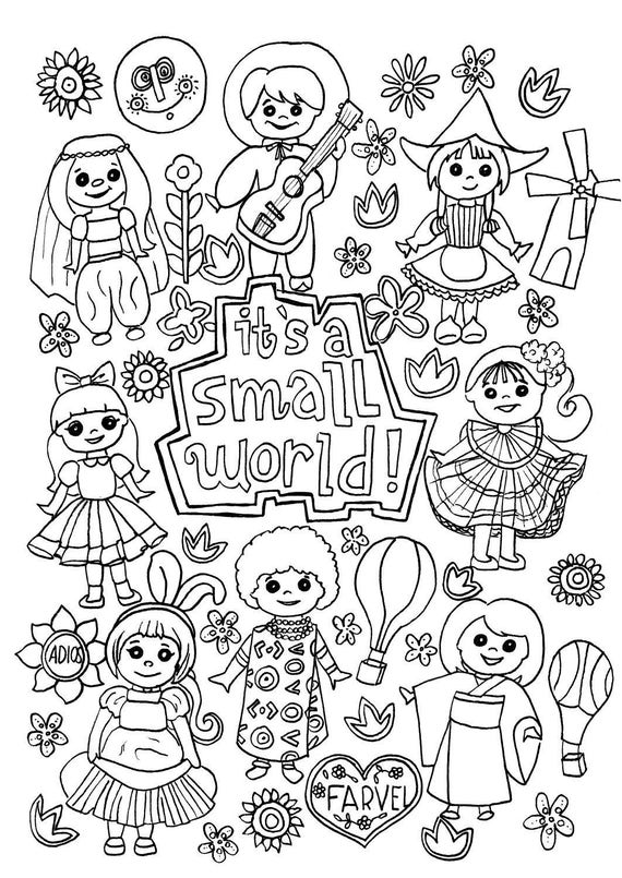 disney rides coloring pages | Its a Small World Coloring Page Digital Download Disney