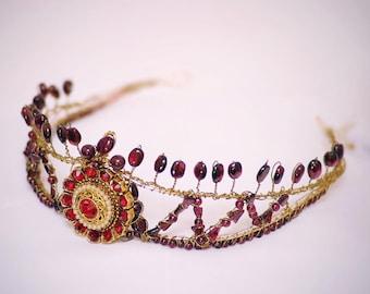 Midnight Pomegranate Burgundy Wedding Bridal Headpiece Garnet Tiara Stage Crown Bohemian Wedding Tiara Bridal Tiara Regal Crown