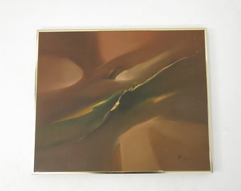 Mid Century Modern Abstract Organic Frame Oil Painting Signed