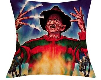 Horror Pillow Case 18x18 Freddy Krueger Gift Nightmare on Elm Street Art Freddy Krueger Pillow Cover Horror Movie Gift