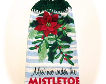 Meet Me Under The Mistletoe Hand Towel With Kelly Green Crocheted Top