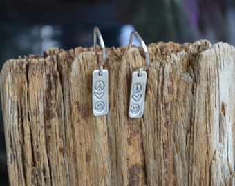 Peace Love and Happiness Earrings Sterling Silver Reclaimed Silver Eco Friendly Heart Smile