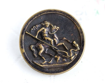 Saint George Slaying the Dragon - Unusual Brass Button - Antique