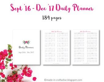 Daily Planner Sept 2016-Dec17 PDF, Everyday Planner Calendar 2016 2015, prefilled, potrait, PDF printable planner pages, Instant Download