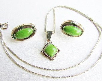 Navajo Southwestern Apple Green Turquoise and Sterling Silver Necklace and Earring Set