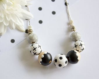 Em-O-Chrome: Hand painted Wooden Bead Necklace (Monochrome, black and white, polka dot, silver glitter)