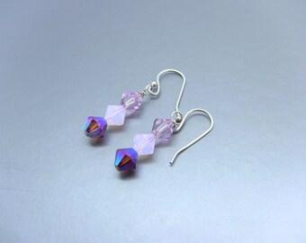 Sterling Silver Purple Swarovski Crystal Earrings