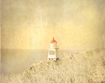 Lighthouse Beach Vintage Art Print  - Sepia Beige Red Nautical Nursery Childrens Room Beach House Home Decor Wall Art Photograph