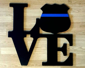 Philadelphia Love Park sign with Police Badge......3 sizes.....wooden wall display