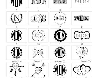 Custom Monogram Vinyl Decal-Circle Monogram Design