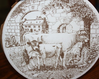 Vintage H & R Johnson Ceramic Tile made in England with a Jersey Cow and Calf