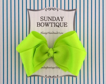 Neon Yellow Hair Bow, Neon Yellow Hairbow, Yellow Boutique Bow, Yellow Hair Bow, Neon Hair Bow, Fluorescent Hair Bow, Bright Hair Bow