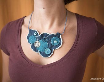 Bib necklace round teal and turquoise felt 10, gift for her
