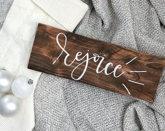 "Rejoice | 15"" x 6"" Wood Sign | Home Decor | Wall Decor | Handmade | Holiday Hanging Sign"