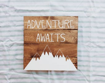 Woodland nursery sign, adventure awaits, baby shower gift, camping, wanderlust, girl, boy, unisex, cute wooden sign, pallet sign, custom