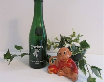 1990 Collectible Bottle, The Harlequin, Happy New Year, Bar Decor, Great Western Champagne, Vintage  Bottle, Jester Bar Decor, Green Glass