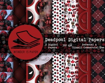 Deadpool Digital Papers - 8 Designs 12x12in, 30x30 cm - Ready to Print - High Quality