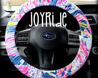 Lilly Pulitzer Fabric Steering Wheel Cover Indigo Sunken Treasure Fully lined with Grip Tight Designer Car Accessories Designer