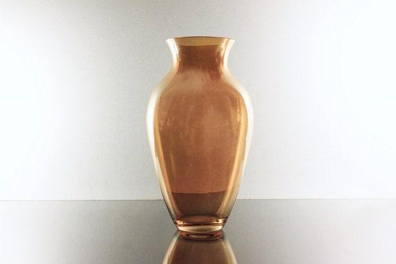 Orange Iridescent Vase, Art Glass, Cased Bottom, Table Vase, 8 Inch, Flower Vase