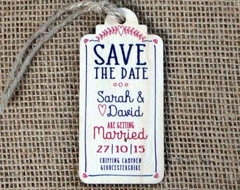 "Wooden Printed ""Save the Date"" Luggage Tags (Laurel Heart)"