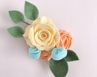 Felt Flower Hair Clip, Baby Flower Crown, Baby, Newborn, Girl