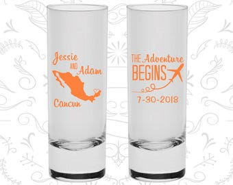 The Adventure Begins, Personalized Tall Shot Glasses, Plane, Mexico Wedding Shooters, Wedding Shooters (C275)